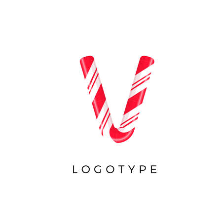 Candy letter V with bright red and white stripes. Like Sweet lollipop or funny cane. Vector latin symbol for logo and monogram. Branding typeset design