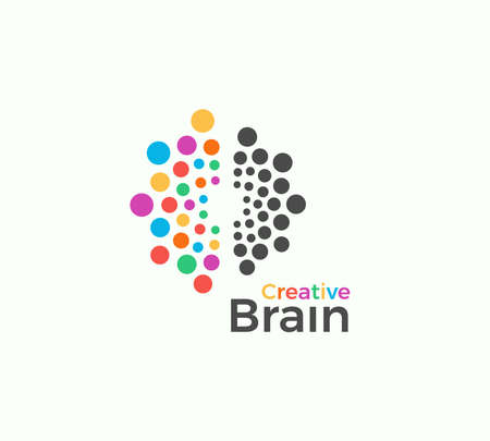 Creative Brain vector logo template in colored dots style. Creative imagination, inspiration abstract icon on white background. Left and right brain hemispheres vector illustration for creativity art Logo