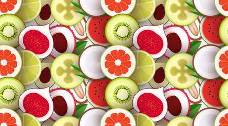 Fruit seamless texture. Pattern with pieces of fruit. Texture for packaging and background. Bright repeatable backdrop. Vector illustration