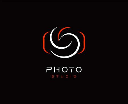 Camera Abstract vector logo template, minimal design logotype concept for digital art studio, photo studio, photographer and photo editor app, isolated on black background Logos