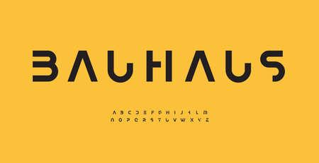 Bauhaus alphabet letter font. Modern typography. Minimal cropped vector typographic design. Cutout type for futuristic, headline, title, monogram, lettering, branding, apparel, merchandise