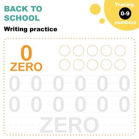 Preschool kids worksheet. Tracing digits 0 to 9. back to school practice for preschoolers. Tracing numbers Worksheet.