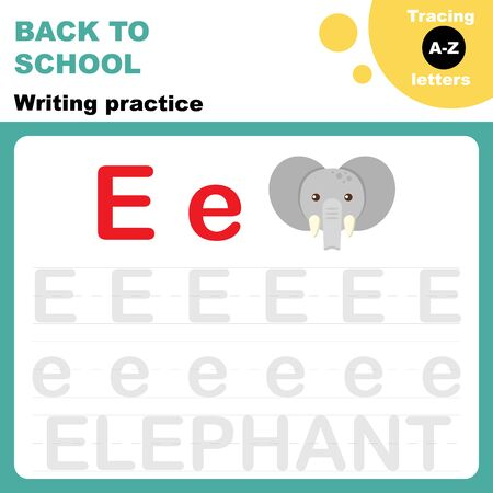 Back to school. Writing practice worksheet. Tracing alphabet letters. Flash card for preschoolers.