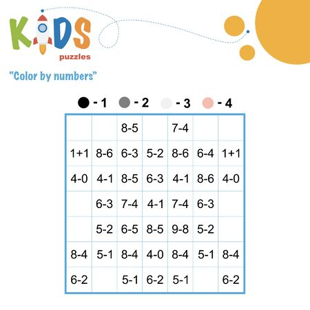 Color by numbers. Mathematical pixel puzzle. Easy colorful worksheet with addition and subtraction, for children in preschool, elementary and middle school.