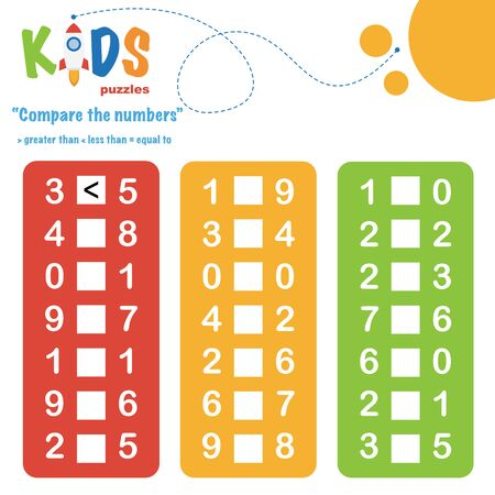 Compare the numbers worksheet practice. Easy colorful worksheet, for children in preschool, elementary and middle school. Ilustração
