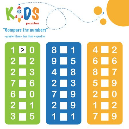 Compare the numbers worksheet practice. Easy colorful worksheet, for children in preschool, elementary and middle school. 向量圖像