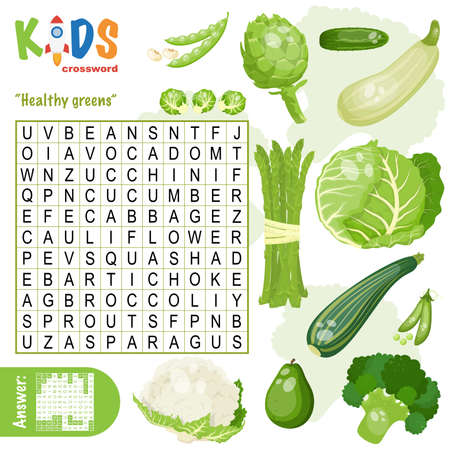 """Easy word search crossword puzzle """"Healthy greens"""", for children in elementary and middle school. Fun way to practice language comprehension and expand vocabulary. Includes answers."""