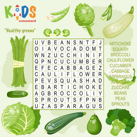 Easy word search crossword puzzle Healthy greens, for children in elementary and middle school. Fun way to practice language comprehension and expand vocabulary. Includes answers.