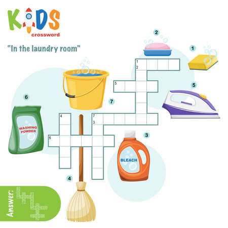 Easy crossword puzzle 'In the laundry room', for children in elementary and middle school. Fun way to practice language comprehension and expand vocabulary. Includes answers. Illustration