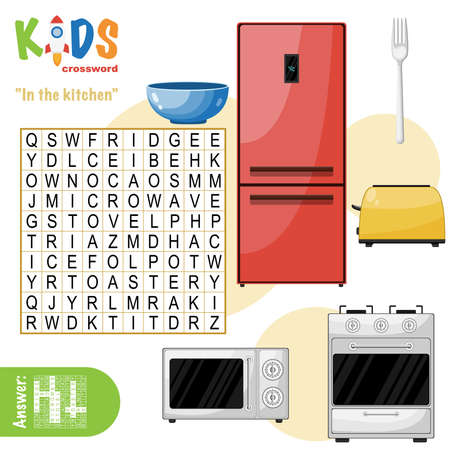 Easy word search crossword puzzle 'In the kitchen', for children in elementary and middle school. Fun way to practice language comprehension and expand vocabulary. Includes answers.