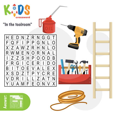 Easy word search crossword puzzle 'In the toolroom', for children in elementary and middle school. Fun way to practice language comprehension and expand vocabulary. Includes answers.