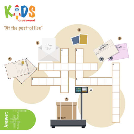 Easy crossword puzzle 'At the post-office', for children in elementary and middle school. Fun way to practice language comprehension and expand vocabulary. Includes answers. Illustration