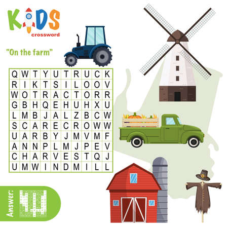 Easy word search crossword puzzle 'On the farm', for children in elementary and middle school. Fun way to practice language comprehension and expand vocabulary. Includes answers. Illustration
