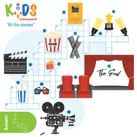 Easy crossword puzzle 'At the cinema', for children in elementary, primary and middle school. Fun way to practice language comprehension and expand vocabulary. Includes answers.