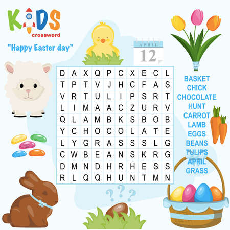 Easy word search crossword puzzle 'Happy Easter Day', for children in elementary and middle school. Fun way to practice language comprehension and expand vocabulary. Includes answers. Illustration