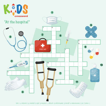 Easy crossword puzzle 'At the hospital', for children in elementary and middle school. Fun way to practice language comprehension and expand vocabulary. Includes answers. Illustration