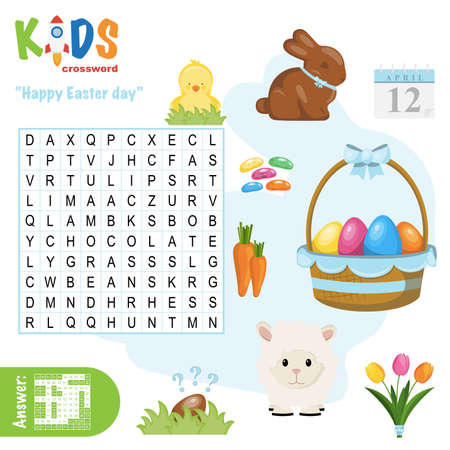Easy word search crossword puzzle 'Happy Easter Day', for children in elementary and middle school. Fun way to practice language comprehension and expand vocabulary. Includes answers.