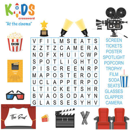 Easy word search crossword puzzle 'At the cinema', for children in elementary, primary and middle school. Fun way to practice language comprehension and expand vocabulary. Includes answers.