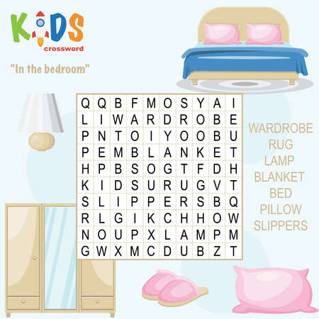 Easy word search crossword puzzle 'In the bedroom', for children in elementary and middle school. Fun way to practice language comprehension and expand vocabulary. Includes answers. Illustration