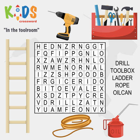Easy word search crossword puzzle 'At the toolroom', for children in elementary and middle school. Fun way to practice language comprehension and expand vocabulary. Includes answers. 向量圖像