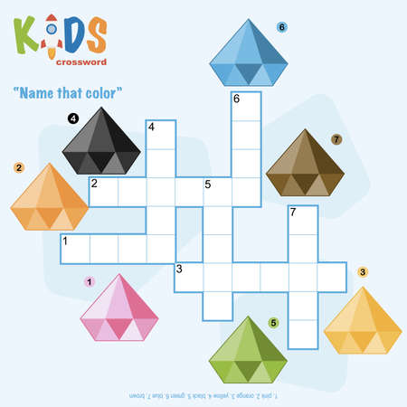 Easy crossword puzzle 'Name that color', for children in elementary and middle school. Fun way to practice language comprehension and expand vocabulary. Includes answers.