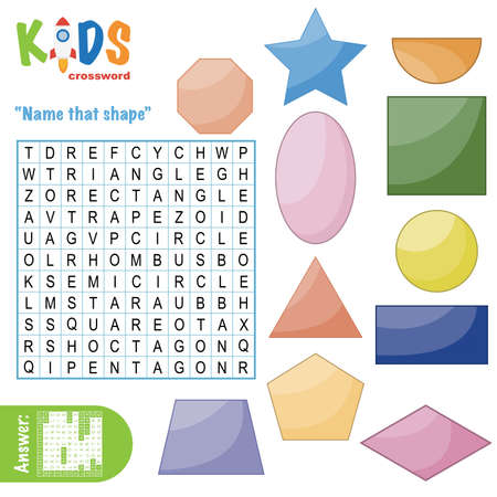 Easy word search crossword puzzle 'Name that shape', for children in elementary and middle school. Fun way to practice language comprehension and expand vocabulary. Includes answers.