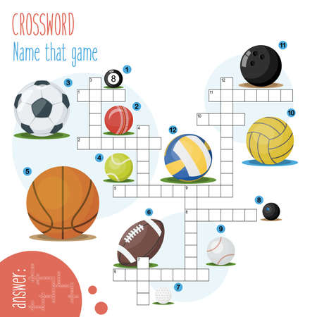 Easy crossword puzzle 'Name that game', for children in elementary and middle school. Fun way to practice language comprehension and expand vocabulary. Includes answers. Illustration