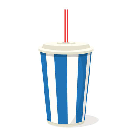 Soda paper cup drink with straw