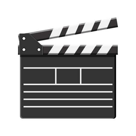 Cartoon vector black cinema clapperboard.