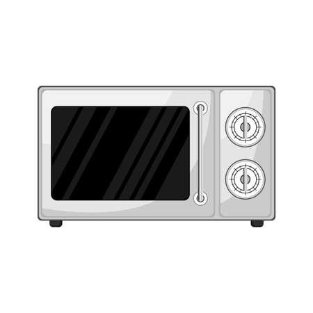 Cartoon kitchen microwave . Vector illustration