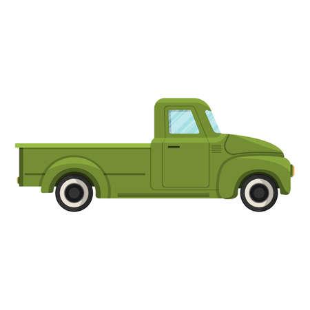 Cartoon green farm truck. Vector illustration Vector Illustration