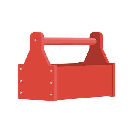 Cartoon empty red tools box . . Vector illustration