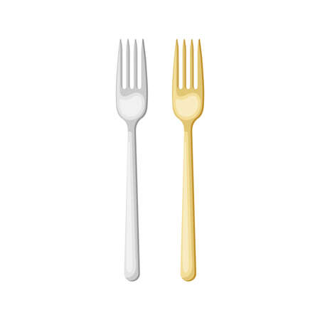 Cartoon silver and gold forks . Vector illustration