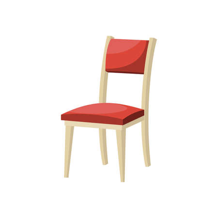 Cartoon red soft dining chair . Vector illustration