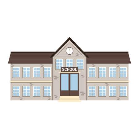 Cartoon brick school building . Vector illustration Vetores
