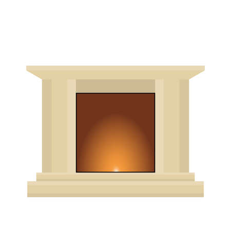 Cartoon living room fireplace . Vector illustration Illustration