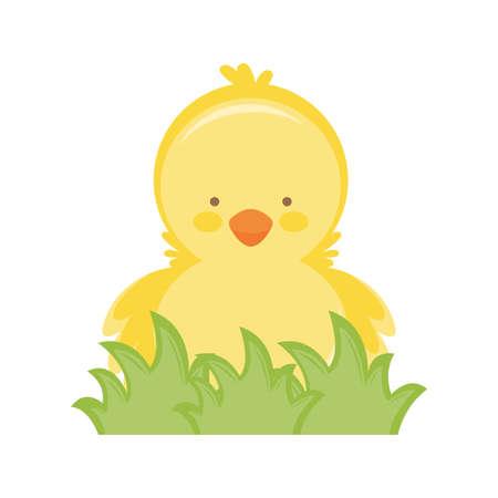 Cartoon cute little yellow chick. vector illustration Ilustrace