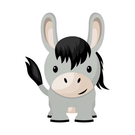 Cartoon cute little baby donkey, vector illustration