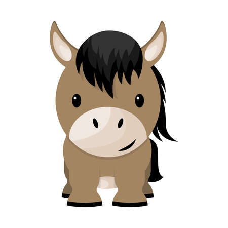 Cartoon cute little horse, vector illustration Vector Illustratie