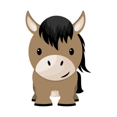 Cartoon cute little horse, vector illustration
