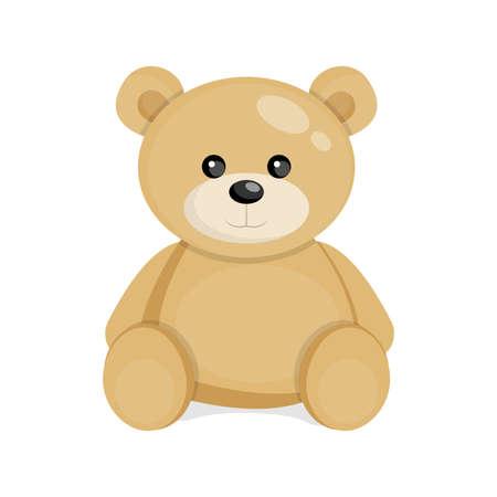 Soft teddy bear toy. Vector illustration.