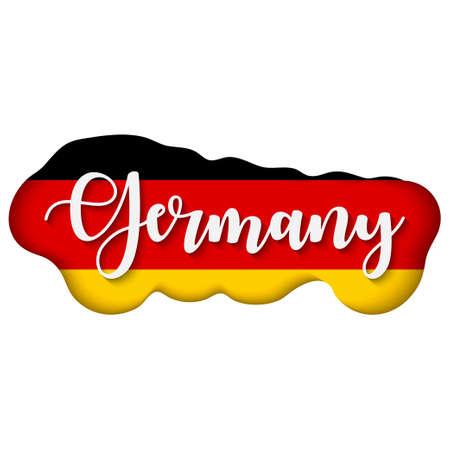 Germany lettering over flag. Flag of Germany.