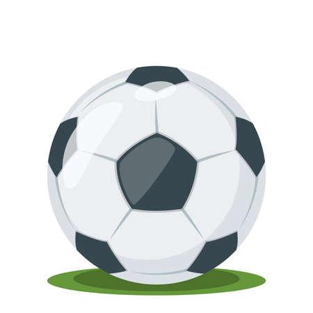 Football ball on the grass, vector illustration