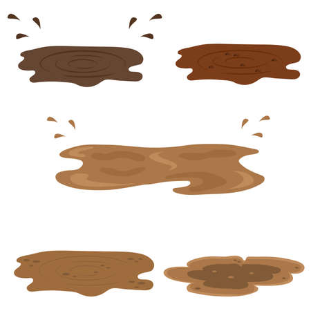 Muddy puddles set vector illustration