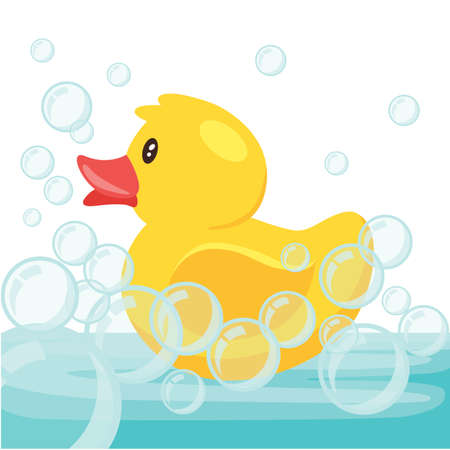 Yellow cute cartoon rubber bath duck in blue water. vector illustration Ilustração