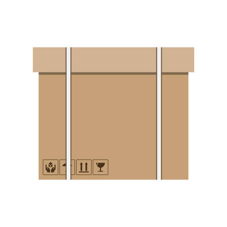 Cargo. Carton boxes with fragile signs and note tape. Moving. Vector illustration Illusztráció