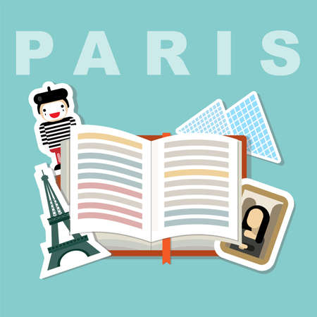 Illustration of a book with Paris famous attributes, Eiffel tower, Mona Lisa paint, the Louvre, meme face
