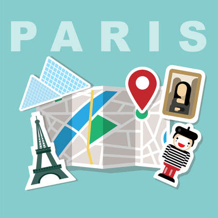 Illustration of a map with Paris famous attributes, Eiffel tower, Mona Lisa paint, the Louvre, meme face Ilustracja