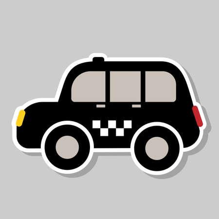 taxi. black cab sticker, vector illustration