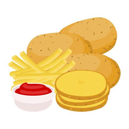 Cartoon potato flat vector illustration